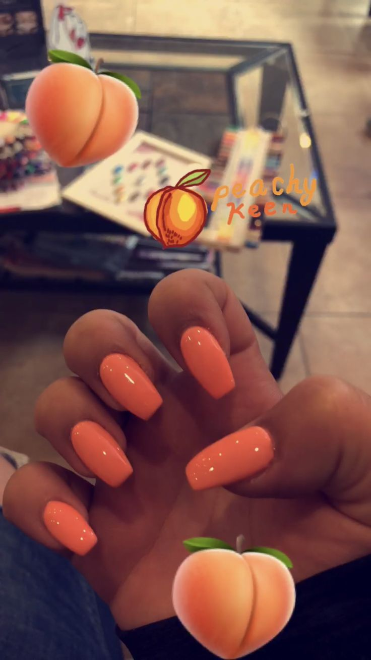 peach acrylic nails coffin