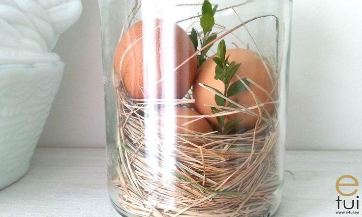 Wielkanocna dekoracja - gniazdo w słoiku - prosta dekoracja - diy