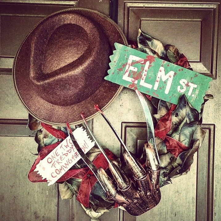 nightmare on elm street wreath i made for our door this halloween its one of - Halloween Horror Decorations