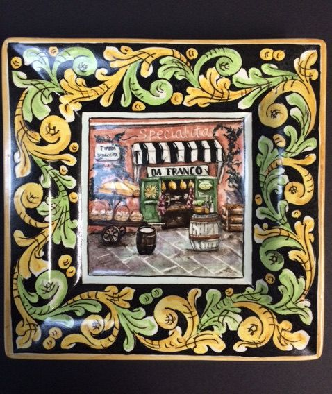 Square plate with Italian shopscape by Bluanticoceramics on Etsy
