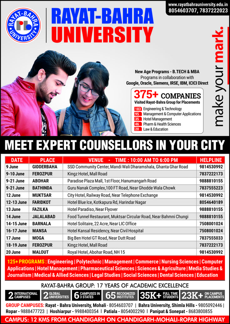 After the #results of higher secondary, #Confused what to #choose? Don't worry, it's just a human trait. For best #guidance and #advice to #shape your #career, Meet our #expert #counsellors in your city. For queries and details, feel free to contact the concerned person.  #RayatBahraUniversity #RBU #RayatBahra #AdmissionOpen #Chandigarh #Punjab #Mohali #Kharar