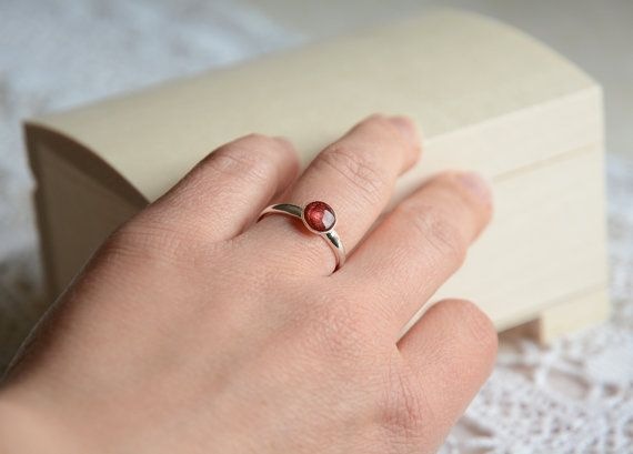 Small red gem ring sterling silver 925 by BalanceAtelier on Etsy