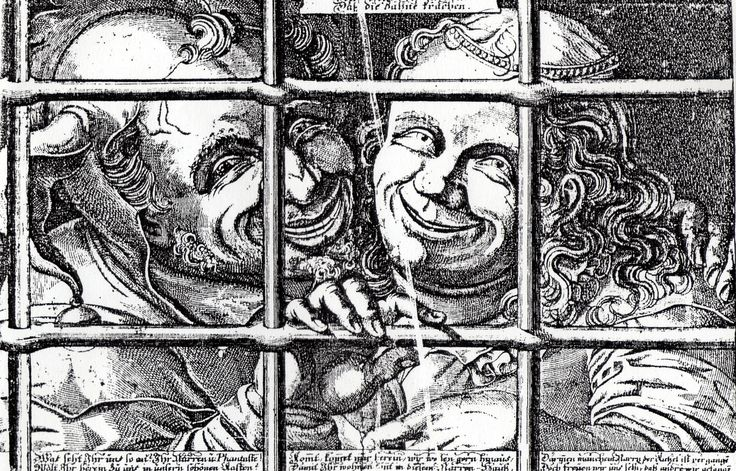 "[apologies for poor quality image] 2 =3 'trick numeration of fools' German woodcut sheet ?c.1600. Title: ""[Wir alle drey] lachen/ Dass die Zahne krachen"" [the three of us laugh so hard that our teeth crack] Oxford, Douce Collection -- one of the numerous prints collected by the great Francis Douce for his ""Dissertation on Fools and Clowns"" appended to his ""Illustrations of Shakespeare"" (1807)"