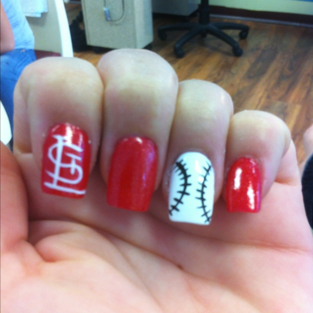I want to do this!!: Cardinals National, Nails Art, Cute Ideas, St. Louis Cardinals, Stl Cardinals, Cardinals Nails, Hair Nails, Ideas On, Stl Cards