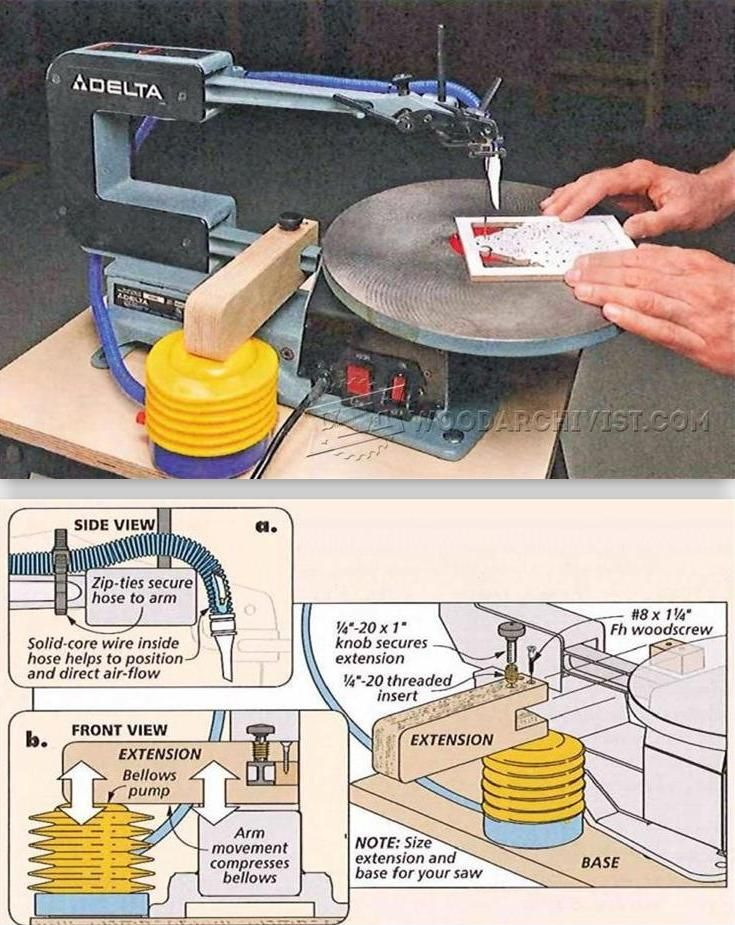 DIY Scroll Saw Blower - Scroll Saw Tips, Jigs and Fixtures | WoodArchivist.com