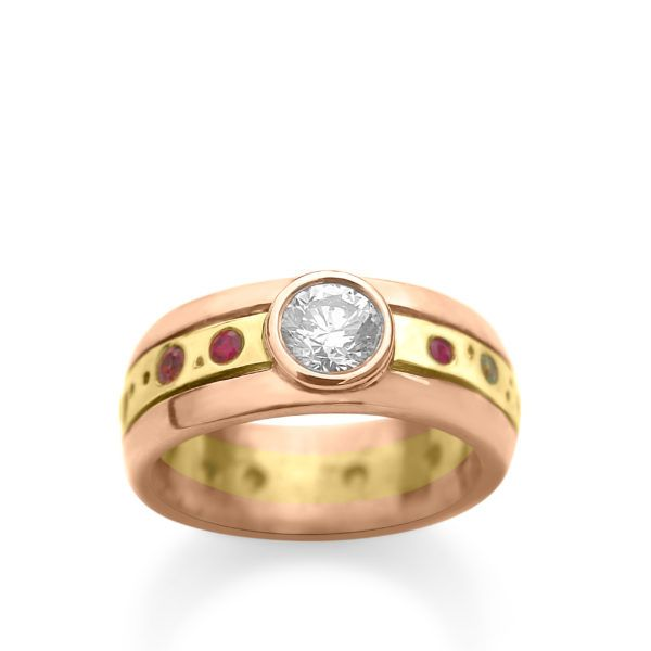 fused 14ct gold set with coloured gems and a large 0.70ct central diamond  custom made to order  POA