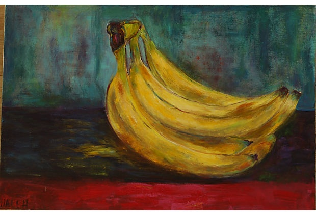 Santa Monica-based artist Haleh Mashian's still life acrylic painting of bananas dances with color and shape. (1599 from Coryne Lovick on OKL; retails 2400)