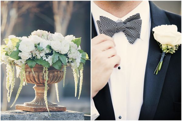 Striped bow tie // wedding day groom