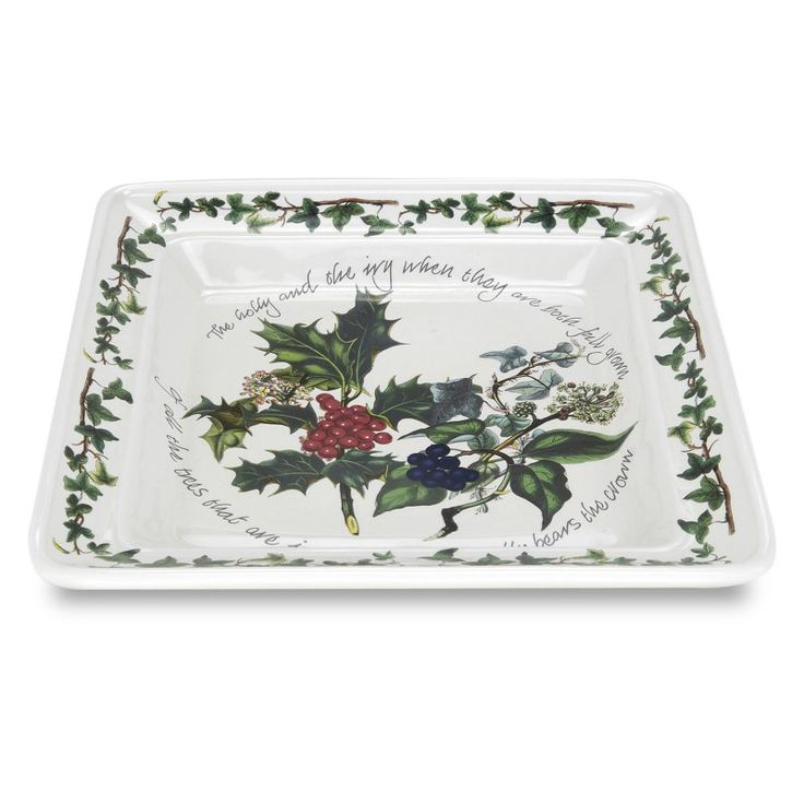 Portmeirion Holly and Ivy Square Plate - Set of 6