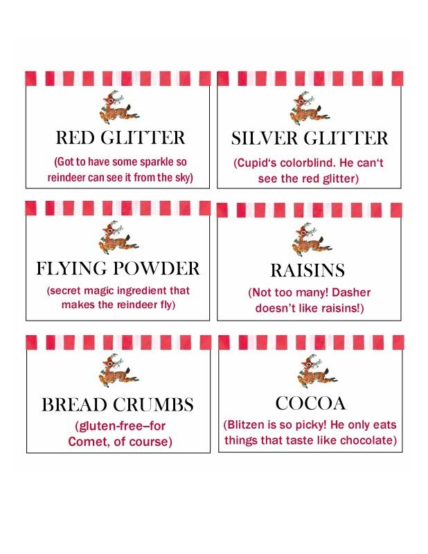 Labels for a reindeer buffet to make reindeer mix for Christmas Eve from Enjoying the Small Things. Love this!!