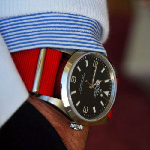 Red cloth strap on a Rolex - perfect summer wear.