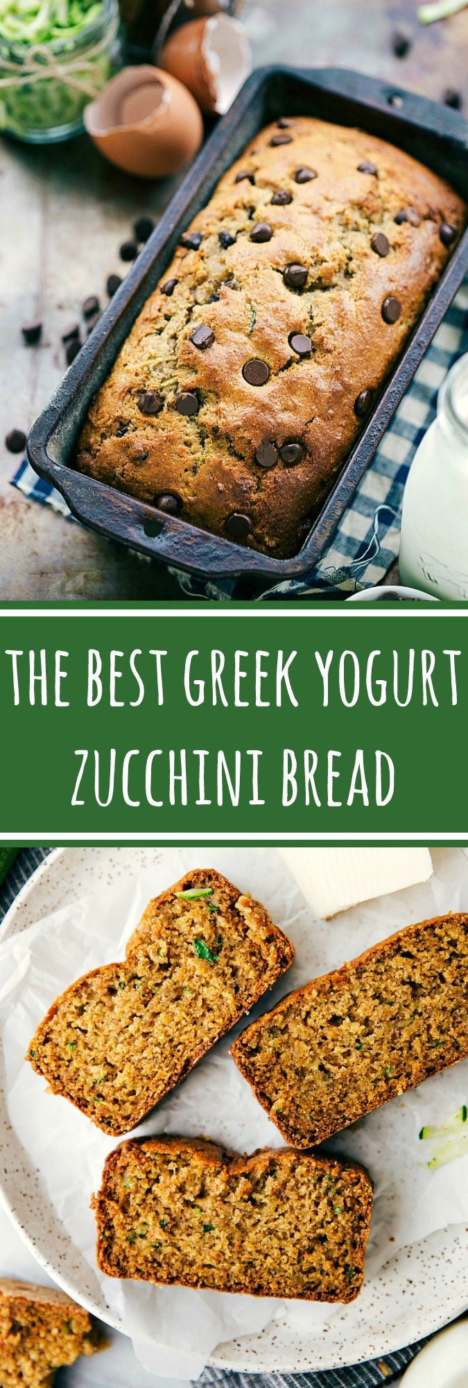 With or without chocolate chips, this Greek yogurt zucchini bread is the BEST! Rave reviews from many!