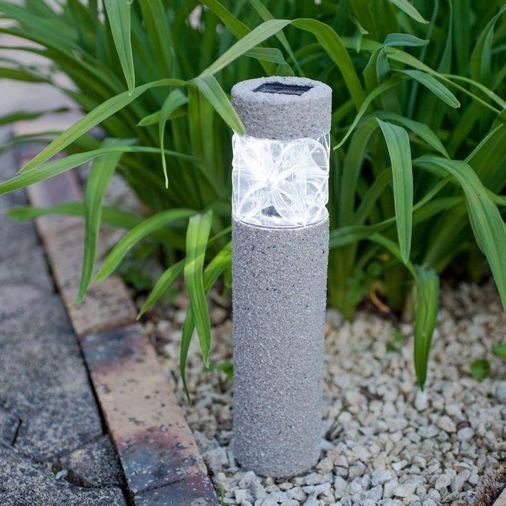Clairage ext rieur solaire borne de jardin en b ton for Borne solaire jardin