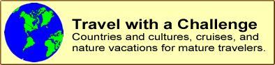Logo, Senior travel magazine: nature, cruising, educational, cultural, volunteer vacations.