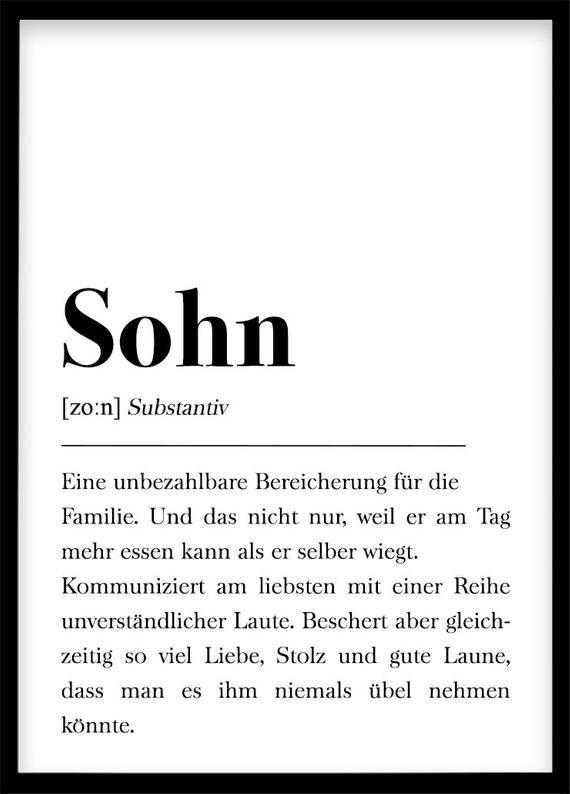 Sohn Definition, Geschenk für Sohn, Erster Junge, Plakat Wörterbuch, Poster Skandinavisch Babyshower Geschenk Geburt