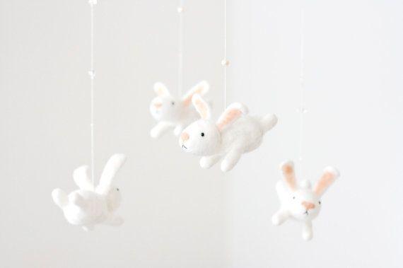 White nursery mobile  baby crib mobile  animal от MistrSandman