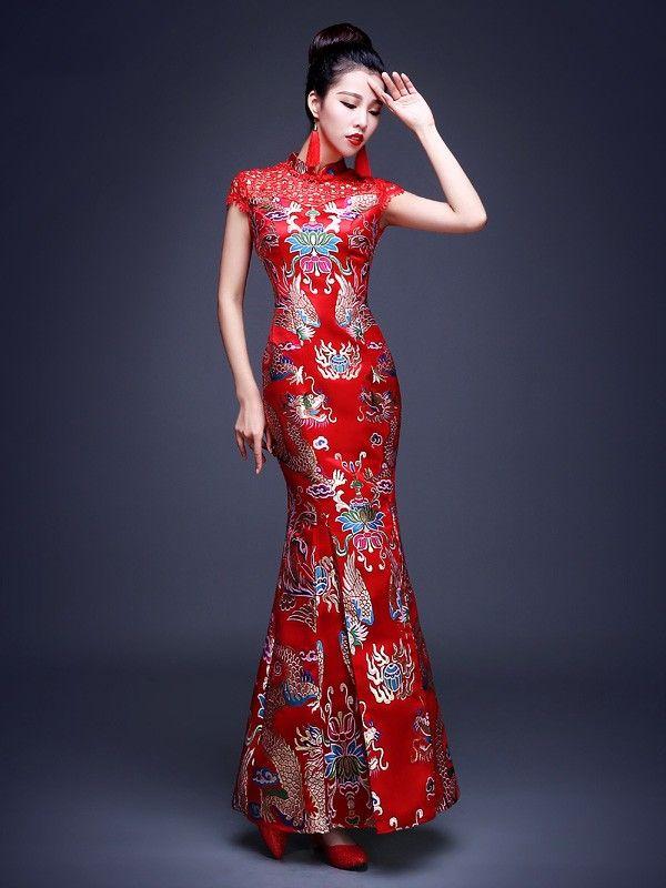 Red Phoenix Fishtail Qipao / Cheongsam Wedding Dress with Lace Inserts