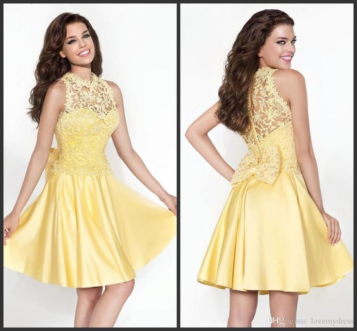 Real Simple Party Dresses Short Yellow Appliques Pearls Elegant Customize Cheap Price Short Mini Homecoming Gown Jewel Neck Bow Back Black Lace Party Dress Black Party Dresses Uk From Lovemydress, $79.6| Dhgate.Com