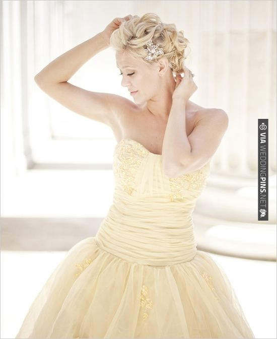 yellow wedding dress, , # ball gown, | CHECK OUT MORE IDEAS AT WEDDINGPINS.NET | #weddingfashion