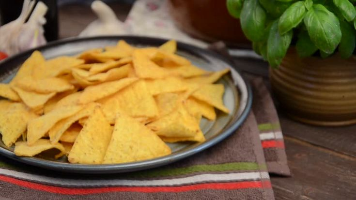 Nachos chips with cheese dip