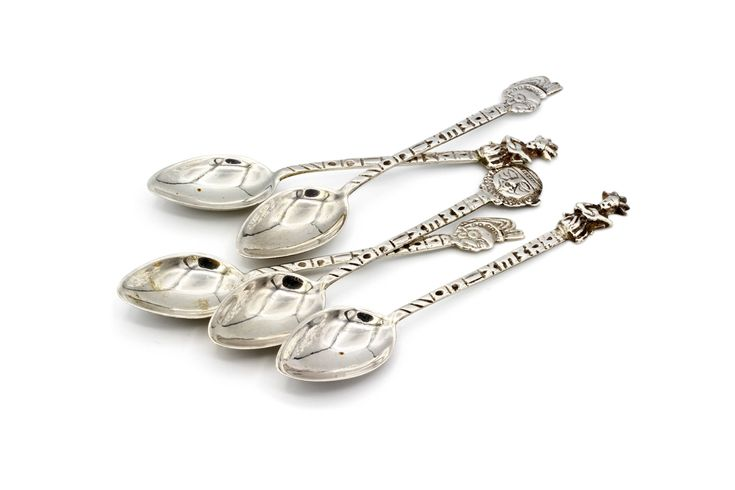 Antique Sterling Silver Spoons, Folk Mexican Metalwork, Small Coffee Spoons, Baroque Tea Spoons, Southwestern Spoons, Engraved Silver Spoons, Fine Cutlery Set, 925 Sterling Silver, Ornate Spoon Handlers, Ornate Silver Metal Spoons, Set of 5 Spoons, Made in Mexico, Ethnic Mexican
