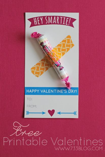 Printable Smarties Valentine's Day Cards