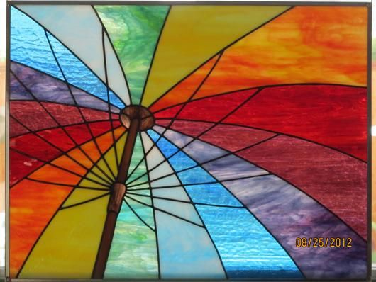 Rainbow Umbrella - Delphi Stained Glass.  Fun, looks like you're sitting in beach chair looking up at the umbrella!