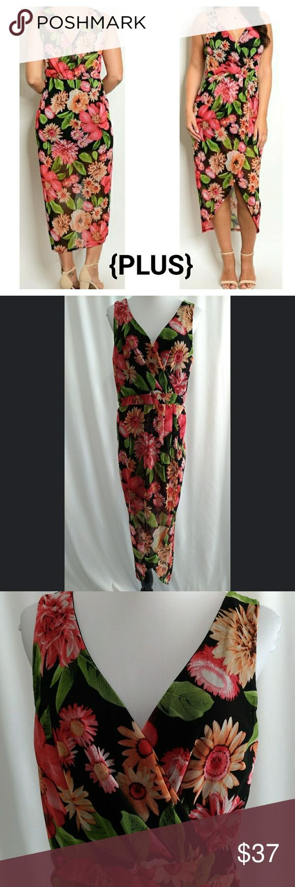 """{JUST IN} Black Mixed Floral Long Dress Black dress with large, red mixed floral print Midi/maxi (depending on your height) Sleeveless Low cut wrap V-neck; similar in back Tulip hem Hi-lo  Short lining Lined top front; semi-sheer back 98% Polyester 2% Spandex  Dry clean Made in USA New without tags  Available in White Floral Print also  Front length: ~44"""" Back length: ~55""""  Pit to pit: XL: 19"""" 2XL: 20"""" 3XL: 21""""  Waist: XL: 36"""" 2XL: 38"""" 3XL: 40""""  Spring Summer Easter Sunday church vacation…"""
