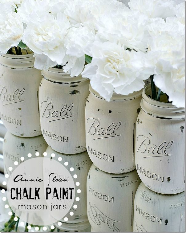 DIY:: How to Create distressed Shabby Chalk painted (mason or recycled jars) in sweet colors of choice ! Great Tutorial by it all started with paint (This is the tutorial for all the ones featured on Etsy ! Why buy when you can DIY ?