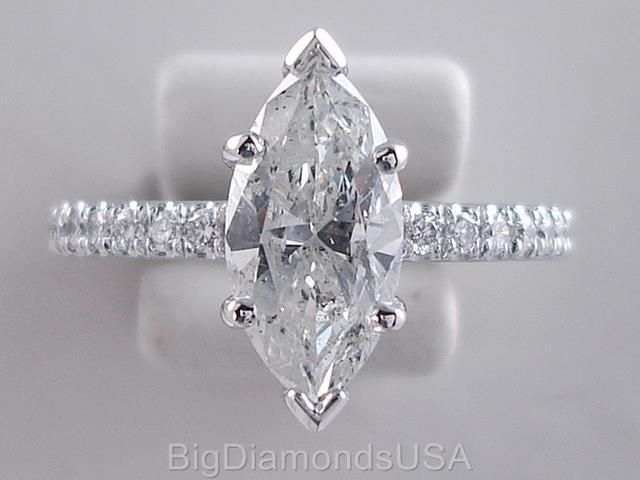 1.80 CARATS TW MARQUISE CUT DIAMOND ENGAGEMENT RING H SI2 #BigDiamondsUSA #SolitairewithAccents
