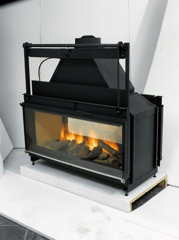 Double Sided Wood Burning Fireplace Insert With Blower  FIREPLACE SEE THRU