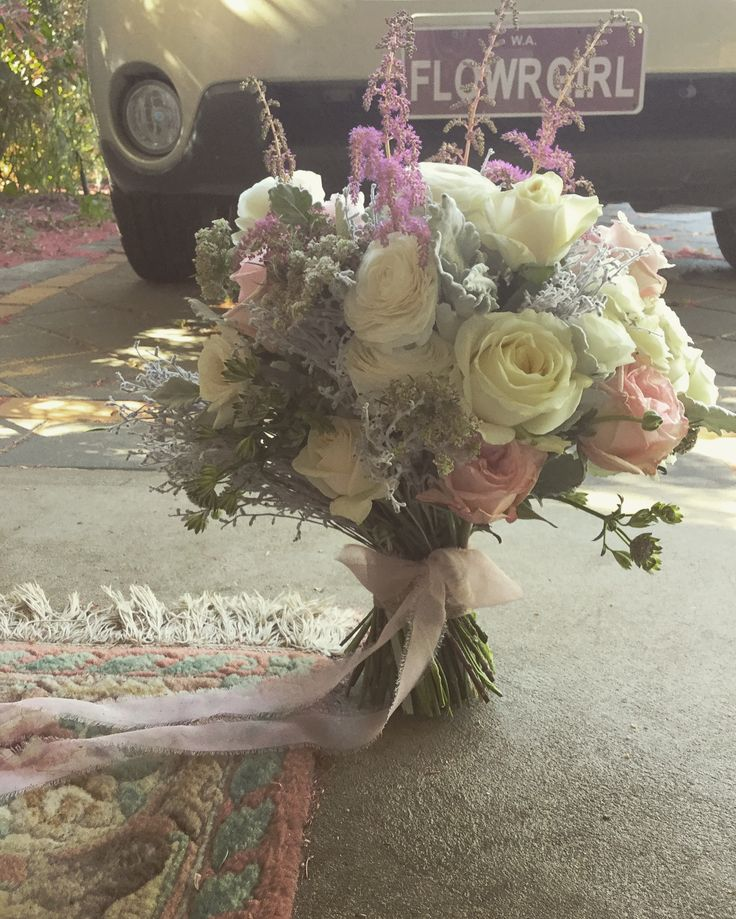 Dusky pink and grey vintage bouquet