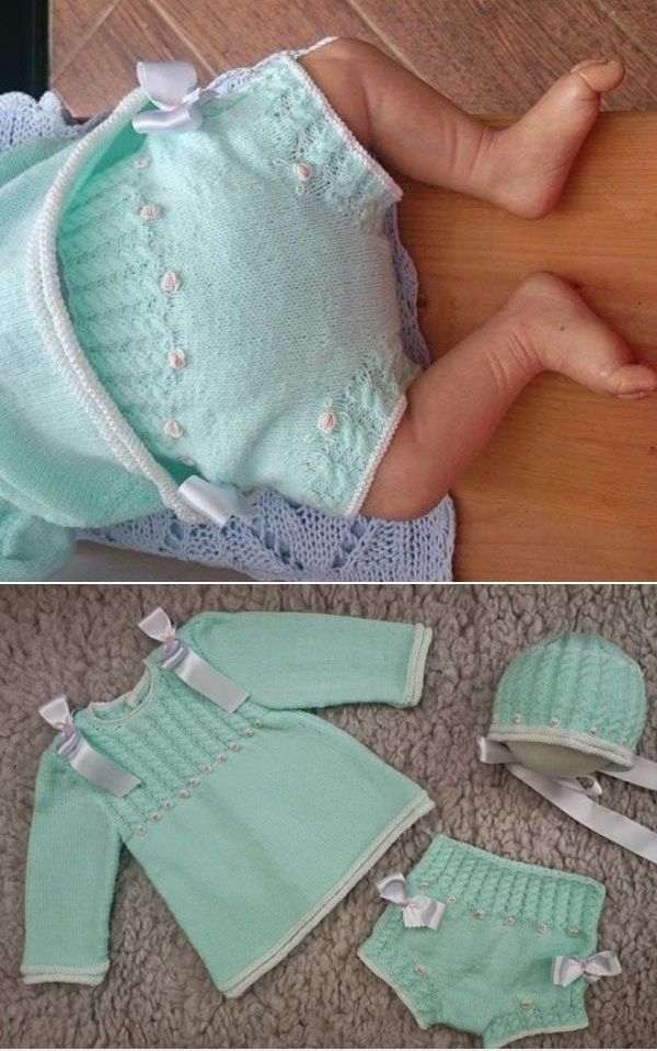 This is a complete set embroidered with bullion roses and embellished with ribbons but, to me, the knickers / panties / diaper cover with cabled ribbing are the sweetest piece. ~~ En rosa y con lacitos by Rosa Bricio Más
