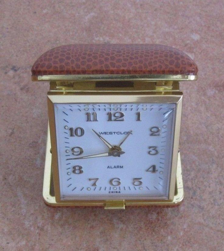 Vintage Westclox travel alarm clock, light brown, working #Westclox