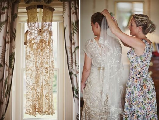 The story of a handmade bride's stunning antique lace Edwardian wedding dress from Lucy Says I Do | The Natural Wedding Company