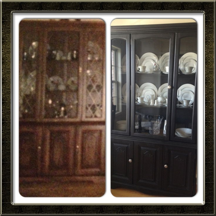 17 Best ideas about China Cabinet Painted on Pinterest   China hutch decor,  Dining room hutch and Painted furniture
