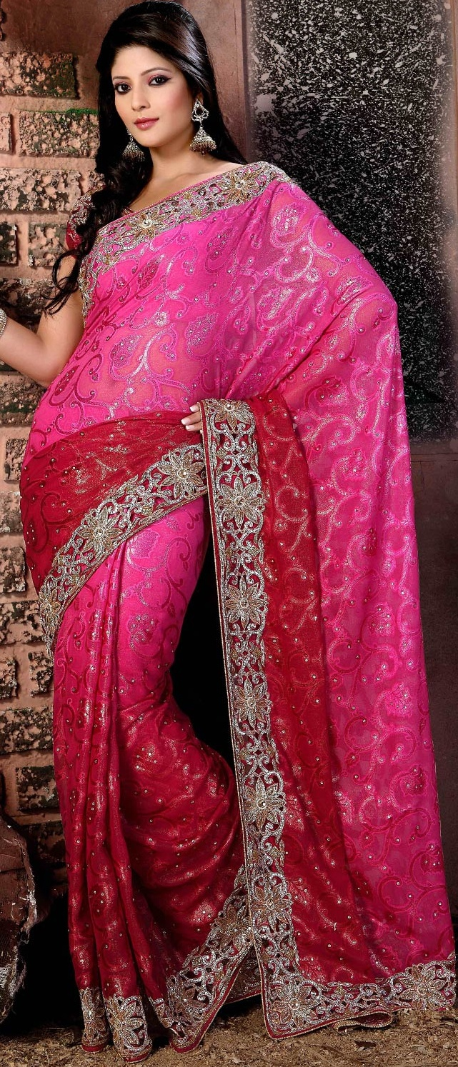 Shaded Pink and #Red Faux Georgette #Saree With Blouse