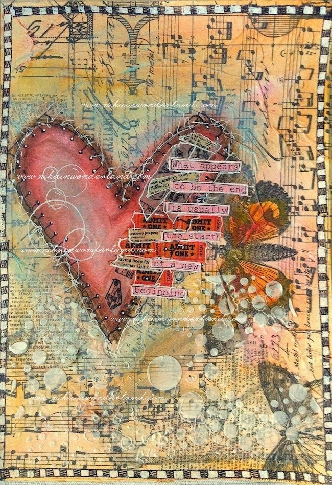 ART JOURNAL PAGE | BROKEN HEART – Nika in Wonderland Mixed Media Tutorials
