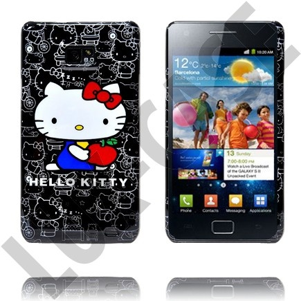 Samsung Galaxy S 2 Hello Kitty Deksel (Black - Red Loop)