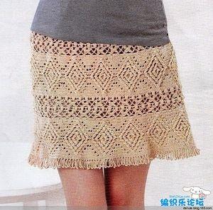 Бежевая юбка крючком узором ромбы