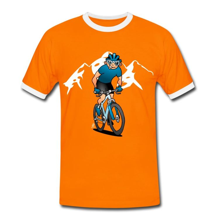 MTB T-shirt design.  #MTB #VTT #ATB #MountainBiken #Cardvibes #Tekenaartje Een full-color afbeelding van een fietser staande op de pedalen van zijn MTB. Hij rijdt op een Trans Alp in de bergen