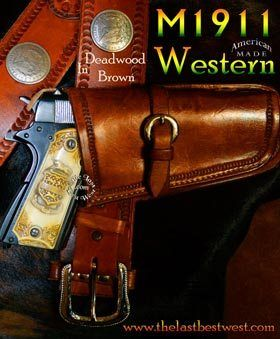 M1911 Western Holster a classic holster with western flair for your 1911 style sidearm Our custom hand-made old west leather holster is an open toed design