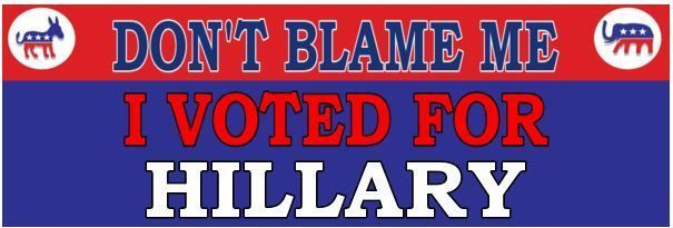 Don't Blame me I voted for HILLARY  - ANTI Trump POLITICAL BUMPER FUNNY STICKER