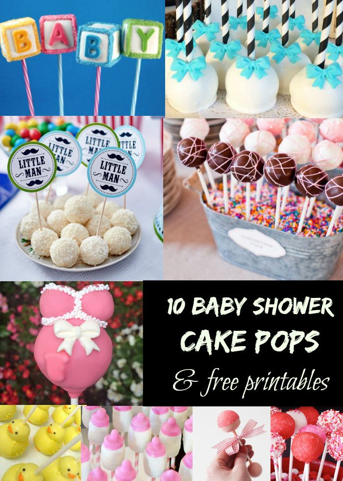 10 cute baby shower cake pop dessert ideas and free printables. Make great decorations and are inexpensive to do.