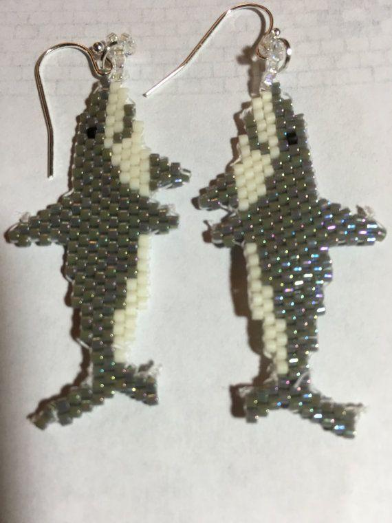 Great White Shark Hand Beaded Earrings | Beaded earrings ...