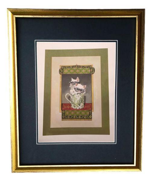 eb8c72fd9d6f Vintage Gold Frame Gucci Teacup Kitten Illustration Art