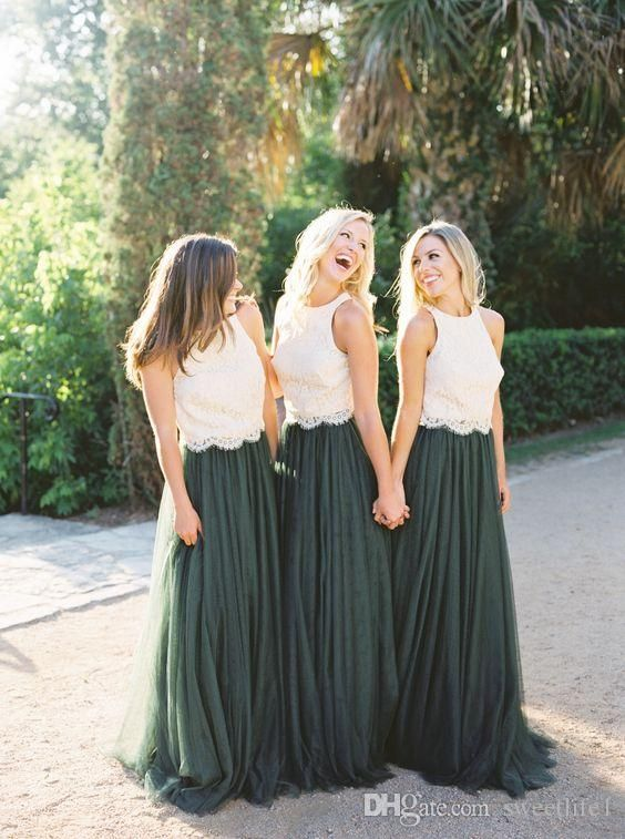8592f7b7a4 2018 Modest Forest Green Tulle Bridesmaid Dresses Two Piece Ivory Lace Top  A Line Maid Of Honor Wedding Guest Gown Formal Occasion Dresses in 2019 |  flower ...