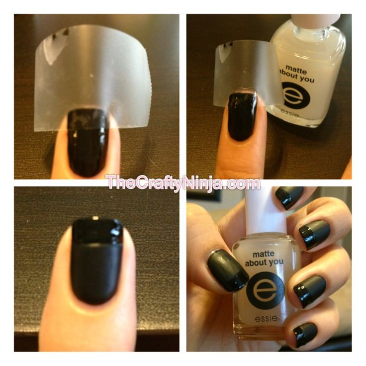 matte black french how-to: Matte Nails, Black French, Nails Design, French Manicures, Essie Matte, Matte French, French Tips, Matte Black, Manicures Tips