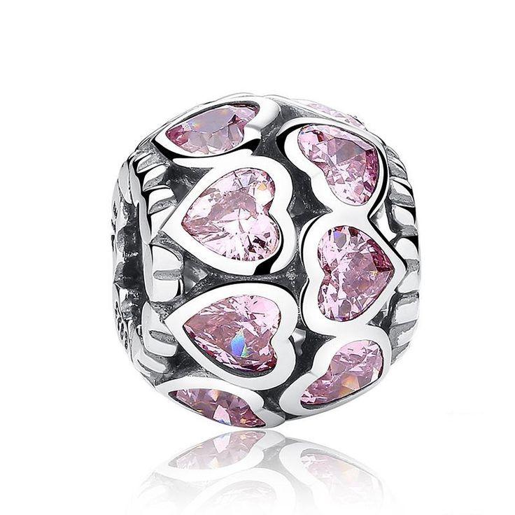 Charm : 925 Sterling Silver Princess Pink Sparkling Bracelet Charm #jewelry #fashion #style #charm # bracelet #silver #prom #teenfashion
