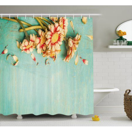 Shabby Chic Decor Shower Curtain, Bunch of Gerbera Flowers on